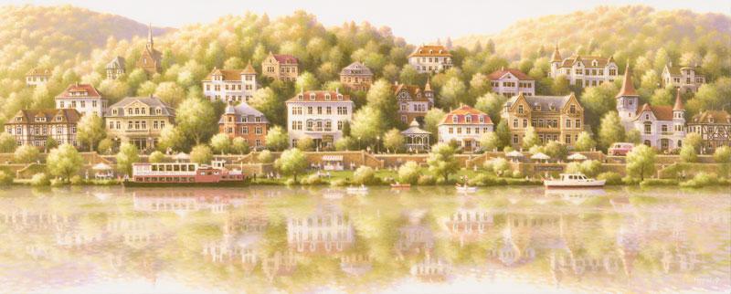 笹倉 鉄平 「やわらかな休日」Riverside of the Neckar2019年7月リリース キャンバス・ジグレー 額付版画作品【送料無料】