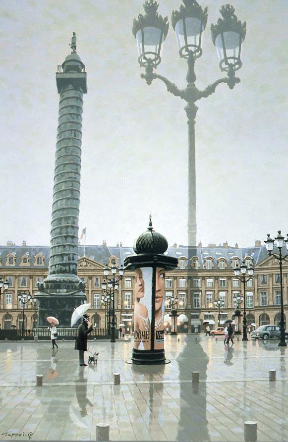 笹倉鉄平 「ヴァンドーム広場」-Place Vendome- 2009年 シルクスクリーン 額付版画作品