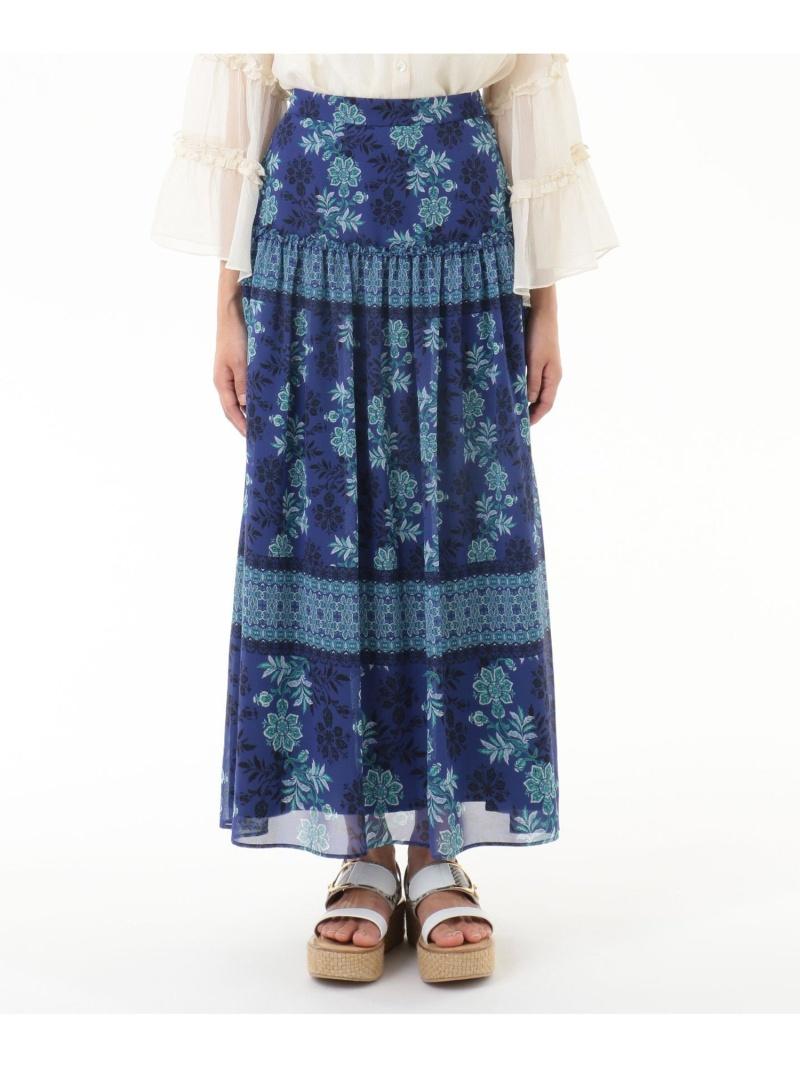 GRACE CONTINENTAL レディース スカート グレースコンチネンタル サラサシフォンロングスカート Fashion 送料無料 ホワイト ついに入荷 Rakuten ネイビー ロングスカート 新商品