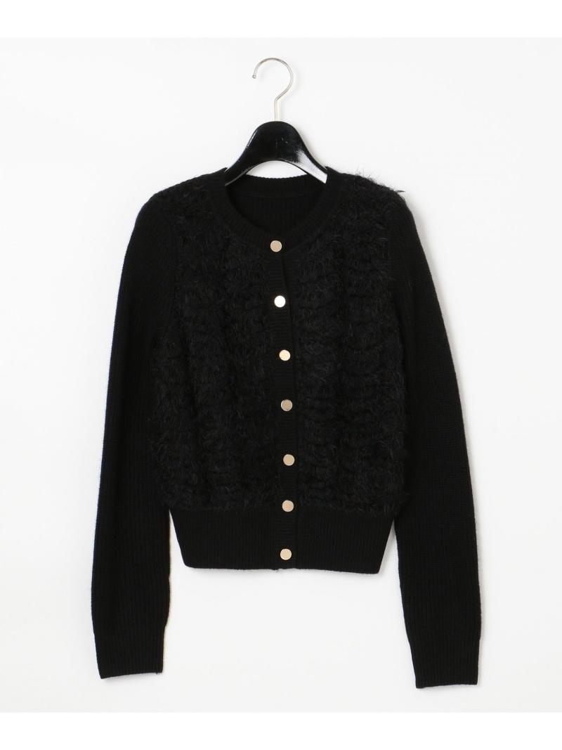 [Rakuten Fashion]スカラップニットカーディガン GRACE CONTINENTAL グレースコンチネンタル ニット カーディガン ブラック ホワイト【送料無料】