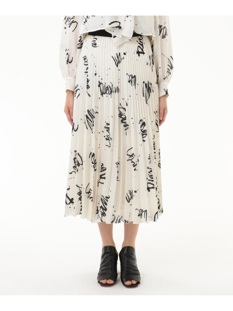 GRACE CONTINENTAL レディース スカート 数量限定アウトレット最安価格 グレースコンチネンタル アートプリントプリーツスカート プリーツスカート 送料無料 ホワイト メーカー直売 ネイビー Rakuten ブルー Fashion ギャザースカート
