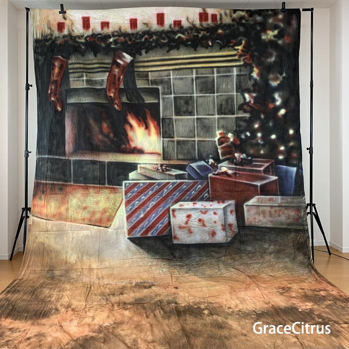 【期間限定割引】撮影用背景布 手描き クリスマス 布背景 約2.8m×6m 布バック スタジオ大型全身撮影用paintingcloth_ms-738