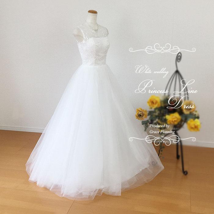 New!ウエディングドレス ファスナー Aライン 透けるラウンドネック 刺繍が綺麗なノースリーブの ウェディングドレス 二次会 花嫁 ドレス gcd7006 5号7号9号11号13号15号