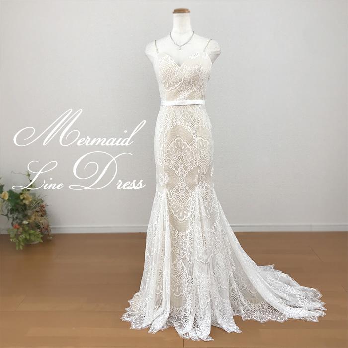 New!ウェディングドレス マーメイド ロングトレーン 二次会 ウエディングドレス マーメード レース 花嫁ドレス gcd_7010