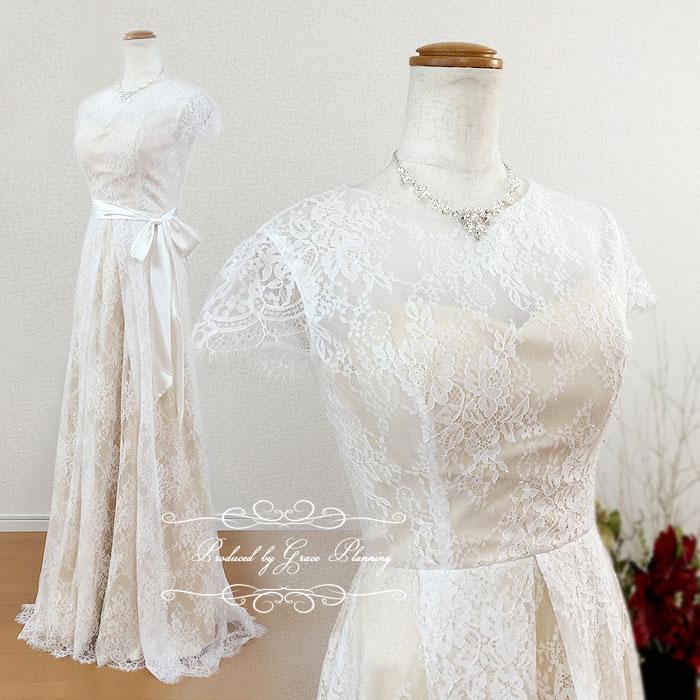 ウェディングドレス サッシュリボン付き 二次会 ウエディングドレス 花嫁ドレス WeddingDress 7号 gcd_7022