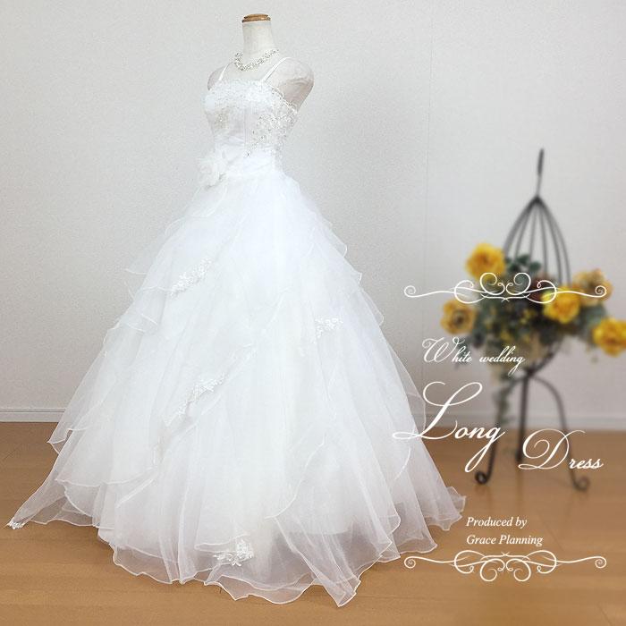 ウェディングドレス 二次会 白 肩ひもあり 流れるドレープが美しいプリンセスラインドレス 5号7号9号11号 結婚式 花嫁ドレス ウエディングドレス 海外挙式にお勧めします gcd7030