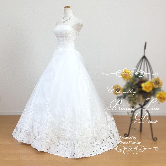 刺繍のビスチェ憧れのプリンセスライン ウェディングドレス 二次会 白 結婚式 ウエディングドレス 花嫁ドレス 海外挙式 フォトウェディングにお勧めします コード刺繍のスカートが豪華なドレス 5号7号9号11号13号 gcd7031