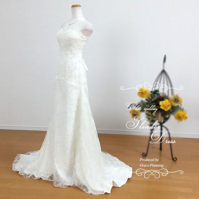 美しいスレンダーラインのウェディングドレス 9号11号 二次会 トレーンが歩きやすい長さ 結婚式 ウエディングドレス 花嫁ドレス 前撮り 後撮り フォトウェディング 海外挙式にお勧めします 7050
