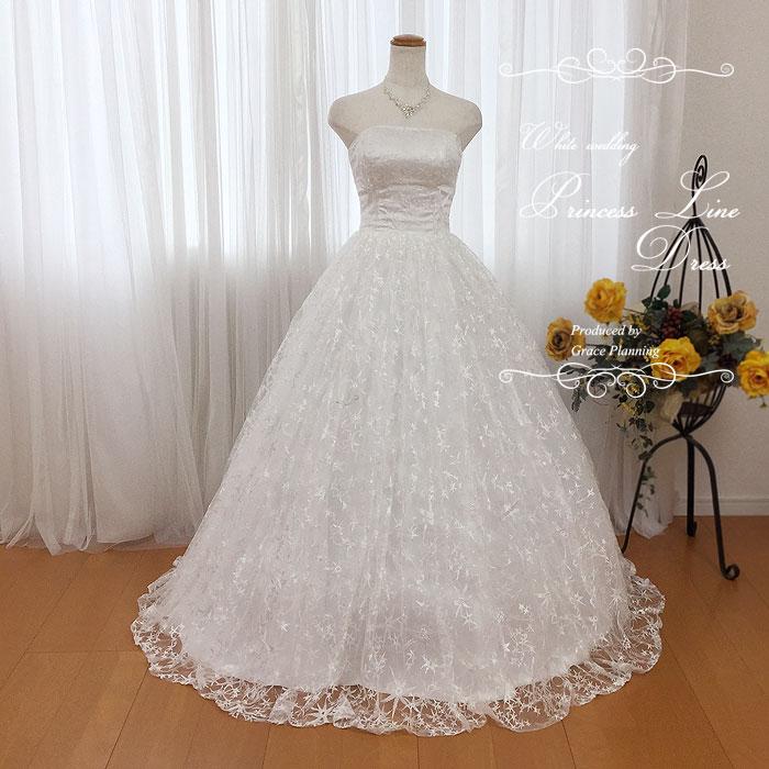 ビスチェの刺繍が美しい ふんわり広がるウェディングドレス 二次会 白 gcd8826 WeddingDress 7号9号11号 結婚式 ウエディングドレス 花嫁ドレス 海外挙式 フォトウェディングにお勧めします