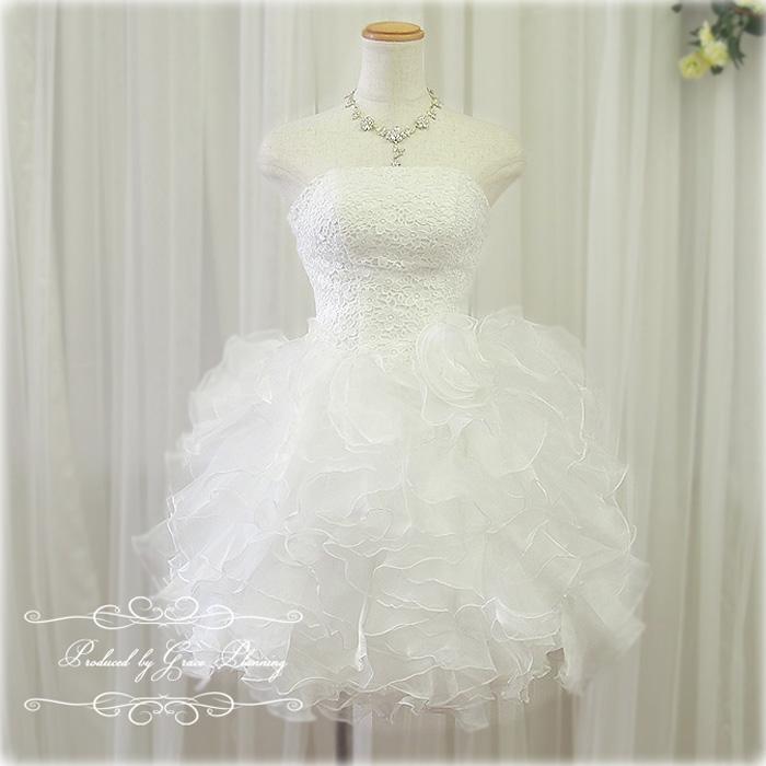 【花冠プレゼント】ウェディングドレス 白 ミニ 上品なレースとフリルで大人かわいいミニドレス 5号7号9号11号 二次会 花嫁ドレス フォトウェディング gcd8879