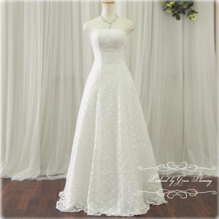 【予約商品】総レースが美しいAラインドレス ウェディングドレス 二次会 白 7号~9号 Mサイズ 結婚式 ウエディングドレス 花嫁ドレス 海外挙式にお勧めします gcd8880