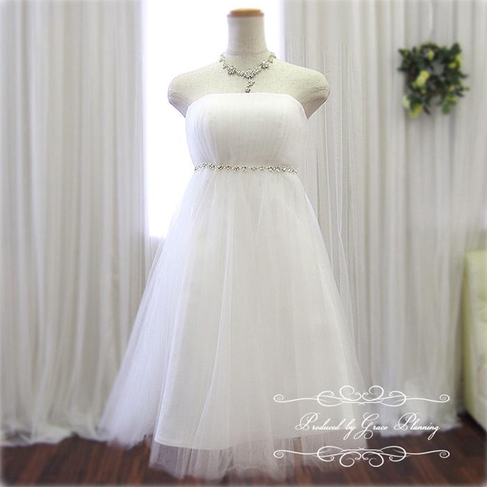 【在庫処分】ウェディングドレス 二次会 白 ミニ エンパイアライン 5号7号9号 結婚式 ウエディングドレス 花嫁ドレス かわいいドレス 海外挙式にもオススメ gcd8881