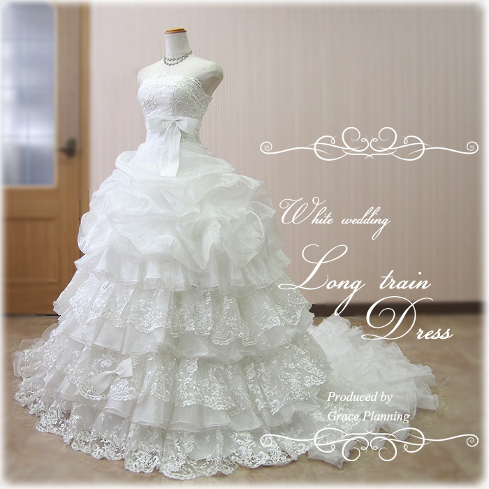 【予約商品】ウェディングドレス 二次会 白 後姿が美しい豪華ロングトレーン 華やかなプリンセスラインドレス 5号7号9号11号結婚式 ウエディングドレス 花嫁ドレス 海外挙式にお勧めします gcd8883