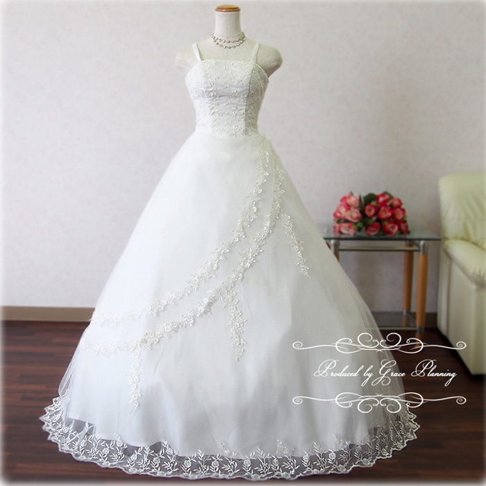 【あす楽OK12時】ウェディングドレス 白 プリンセスライン Aラインドレス 刺繍が豪華なウェディングドレス 5号7号結婚式や二次会 花嫁ドレス 海外挙式にお勧めします gcd8888