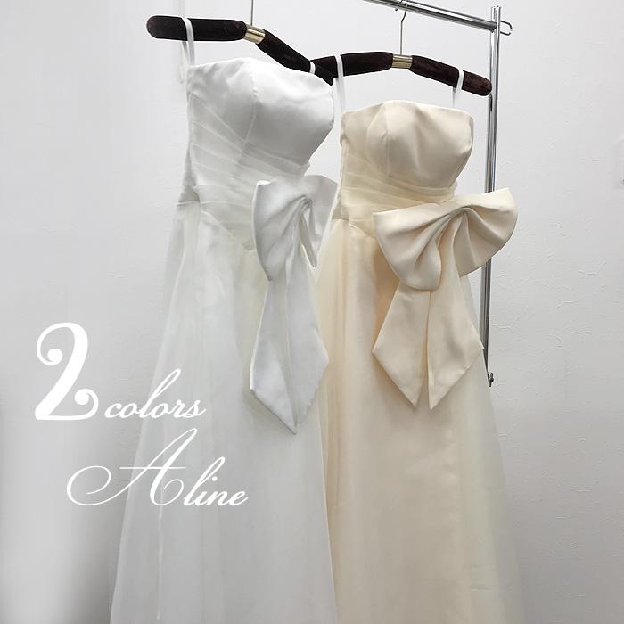 ウェディングドレス カラー 花嫁二次会 白 Aライン 2カラー★大きなリボンのウェディングドレス WeddingDress ウエディングドレス 花嫁ドレス 7号9号11号13号 gcd8889