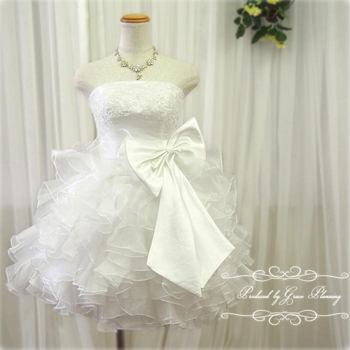 【花冠プレゼント】ウェディングドレス 白 ミニ ふわふわフリルにリボンがキュートなミニドレス 5号7号9号11号 結婚式や二次会 花嫁ドレス かわいいドレス 海外挙式にもオススメ gcd8891