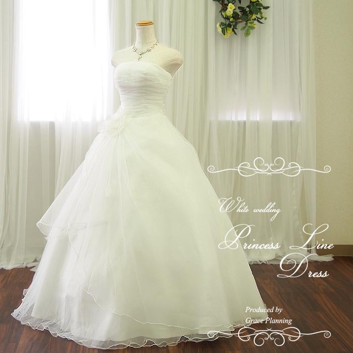 ウェディングドレス 白 流れるドレープが美しいプリンセスラインドレス 5号7号9号11号13号 結婚式や二次会 花嫁ドレス 海外挙式にお勧めします gcd8897
