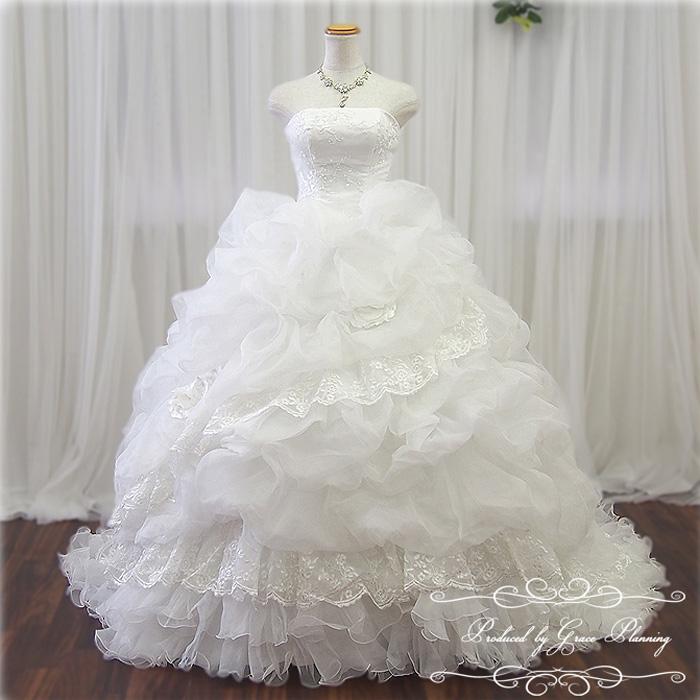 【予約商品】ウェディングドレス 二次会 白 教会式にロングトレーンが華やかなプリンセスラインドレス 7号9号11号13号 結婚式 ウェディングドレス 海外挙式にお勧めします gcd8898