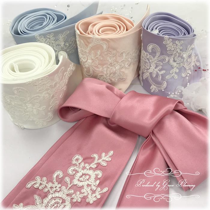 【5色から選べます】サッシュベルト 刺繍のレースが豪華なサッシュリボン ウェディングドレスに【メール便250円/お急ぎネコポス400円】2202
