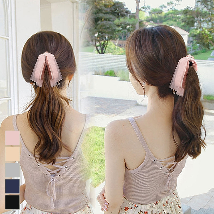 Hair accessories banana clip stylish black yellow blue pink white ribbon  feminine girly plain fabric trip to pretty date outing daily ponytail