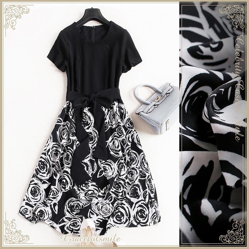 Size LL XL 3L 3XL adult refined / et al  whom a dress Lady's floral design  A-line change black black invite short sleeves class reunion class visit