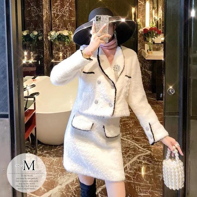 セットアップ ジャケット スカート もこもこ ホワイト 旅行 入園式 レディース 細見え ママ 入学式 卒園式 お呼ばれ 上品 体型カバー フォーマル マダム 二次会 デート 母親 卒業式 パーティー 参観日 お出かけ セレブ 20代30代40代50代 /[wci86]