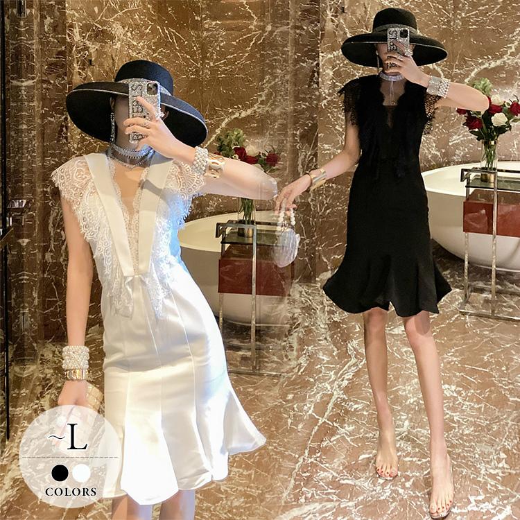 ドレス パーティードレス ロングドレス ノースリーブ Vネック フレア マーメイドライン ホワイト ブラックしっかり レディース 旅行 会社 謝恩会 デイリー 母親 きちんと リモート フォーマル デート 可愛い ディナー 着回し 美人 エレガント 細見え 着痩せ /[wct27]