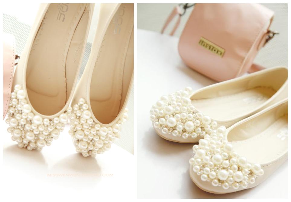 价格: 销毁出售 !Gracefulsmile 独家发售华丽珍珠装饰新泵平板鞋 LA 名人芭蕾舞鞋新