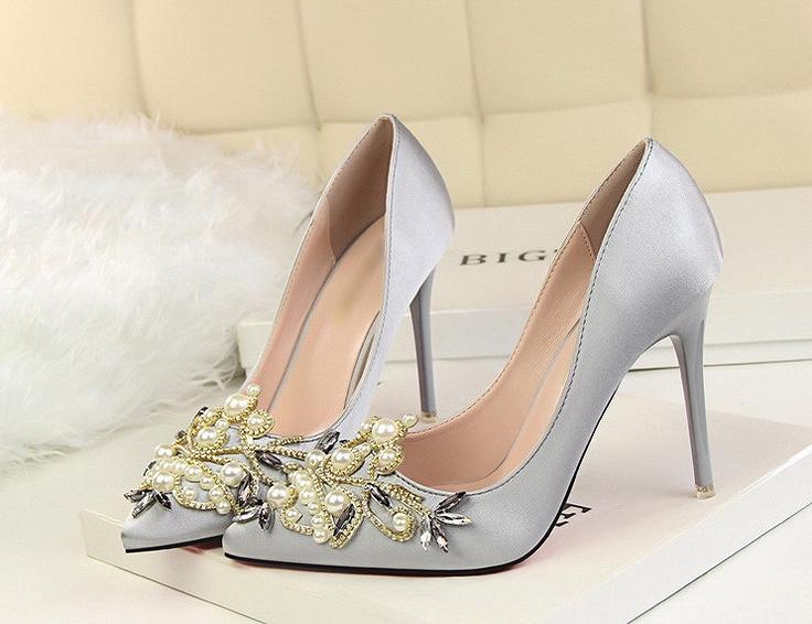 4630fe76e79 Wedding ceremony pumps party shoes party shoes party pumps wedding ceremony  shoes high-heeled shoes bijou satin pin heel black black gray walk and light  ...