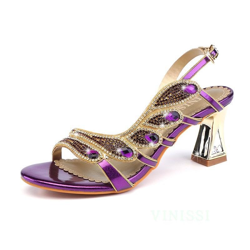 Purple Wedding Heel.Sandals Bijou Strap Low Heel Shoes Shoes Lady S Purple Blue Gold Stone Flare Heel Backstrap 40 Generations 50 Generations Mother Mom Married Woman