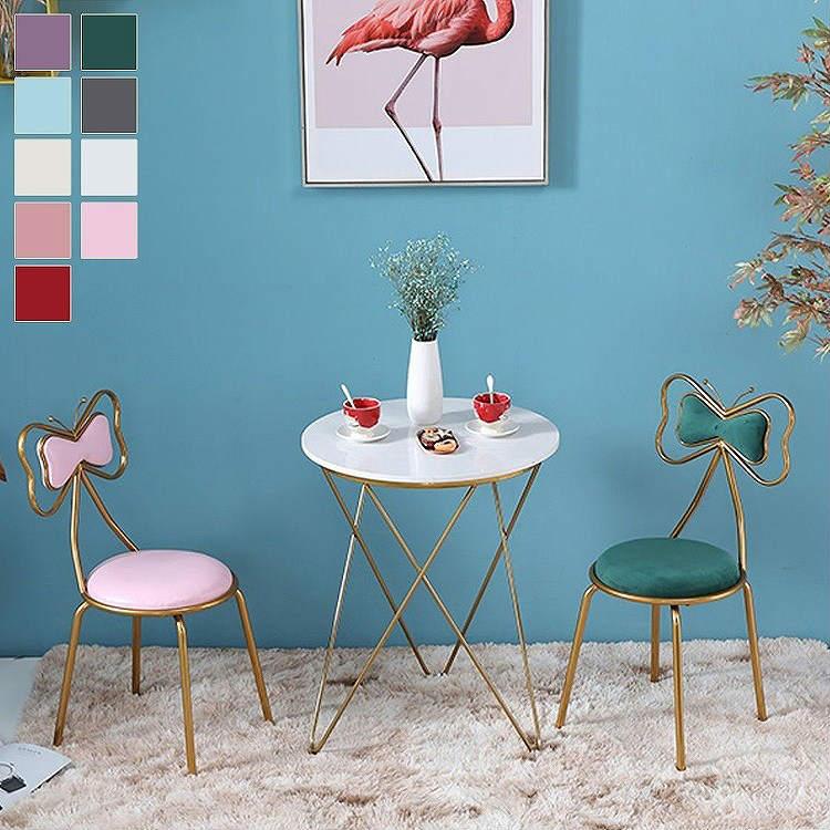 ダイニングチェア おしゃれ 北欧 チェアー チェア 椅子 いす イス ダイニングチェアー リビング かわいい デザイナーズ風 ピンク ゴールド パープル ホワイト レッド グリーン ブルー グレー 可愛い キュート リボン 上品 バタフライ 家具 新生活/[aas24]