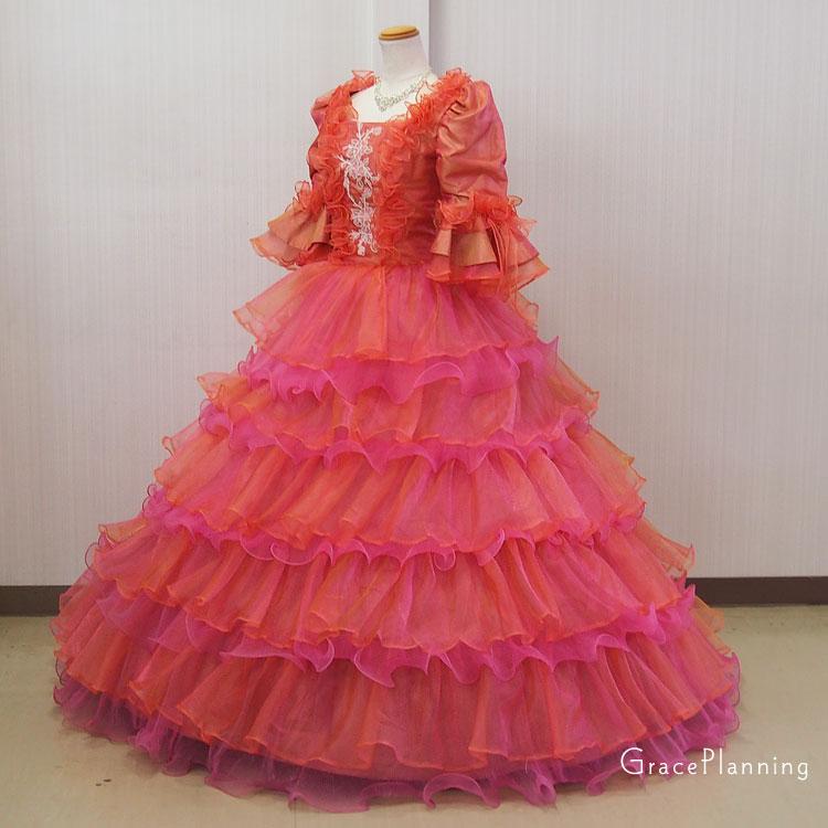 7c3e482728d1e カラードレス ロングドレス プリンセスライン 中世貴族風ドレス 袖付 玉虫系カラー 舞台衣装