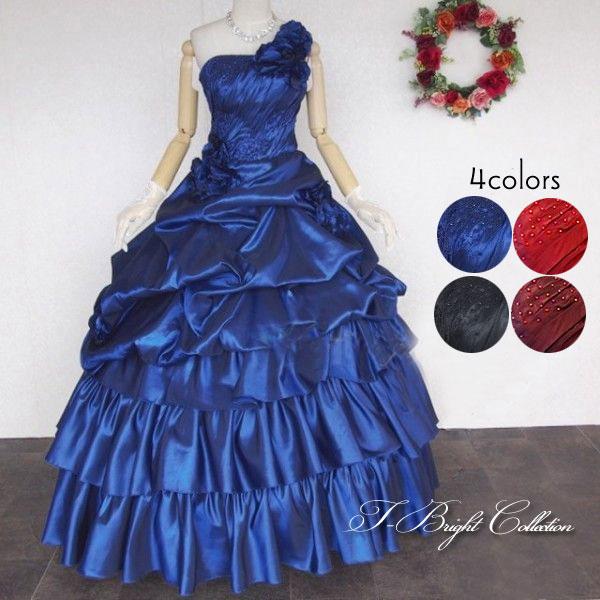 d7eef9bbf50c5 結婚式 ウェディングドレス 二次会用ドレス フリル 青 赤 黒 小さいサイズ 舞台衣装 ステージ