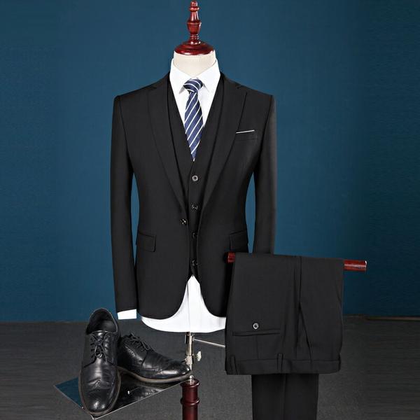 L フォーマル スーツ ベスト付き 男性背広 長袖 ビジネス ジャケット1ツボタン スリムミニマリスト 男性 リクルート卒業式 面接 入学式 花婿メンズ3点セット 黒 dg335d3c6ck /代引き・返品・交換・同梱不可