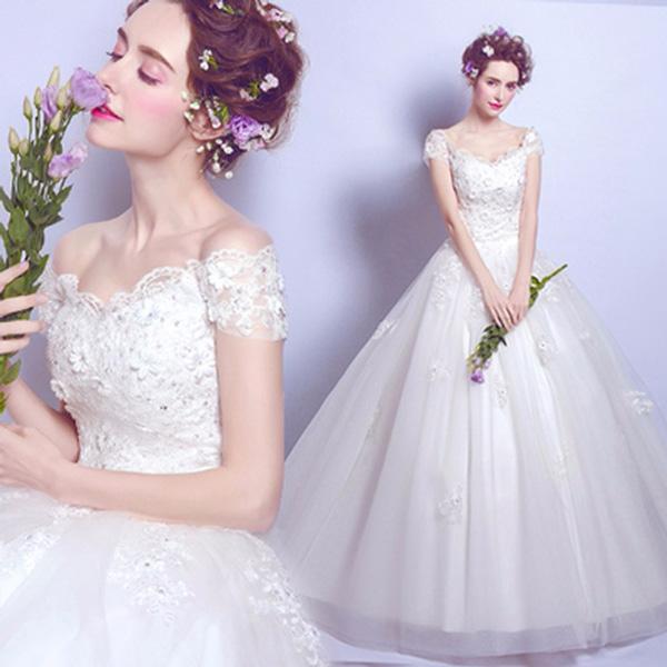 ウェディングドレス ロング丈 編み上げ ロング ホワイト お呼ばれドレスサイズ豊富 二次会パーティーにもお勧め di508zec6kc/代引き・返品・交換・同梱不可