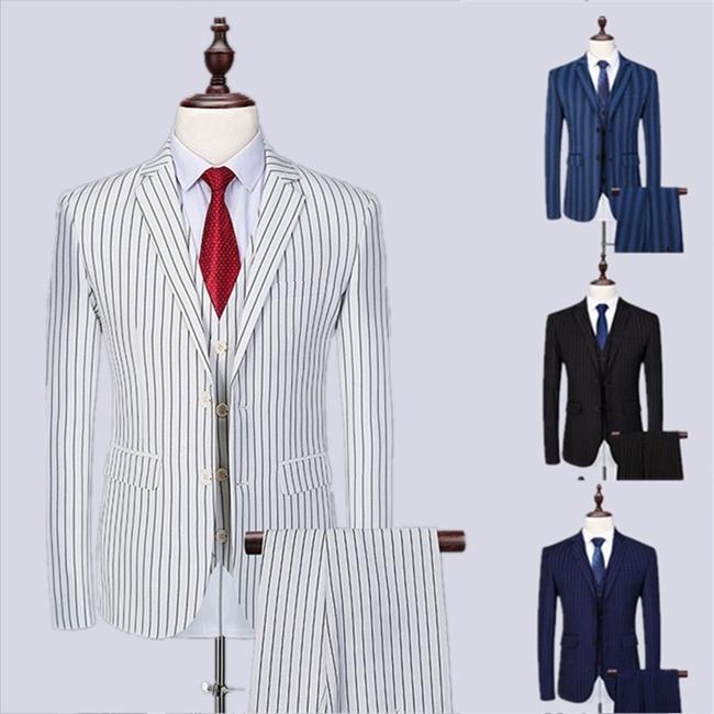 縦縞スーツ フォーマル 2ボタンスリム ビジネス シングル メンズ8カラー選べる 紳士服 男性背広 就職活動suit 3点セット 大きいサイズ おしゃれ春 夏 細身 結婚式 オシャレ【M/L/XL/2XL/3XL/4XL/5XL/6XL】dg103g4g4c7/代引不可