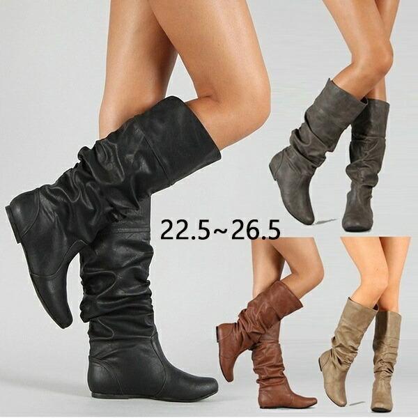 ミドルブーツ 厚底 ブーツ ロングブーツ くしゅくしゅブーツ ウエッジソール 美脚 カジュアル レディース ファッション 30代 シューズ 春 ギフト 40代 秋 ブラック 冬 靴 ギフト 20代