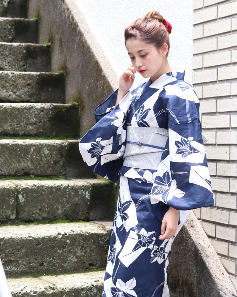 浴衣 レディース 3点セット(浴衣/帯/下駄) 藍 紺 グレー 百合 ゆり レトロモダン レトロ フリーサイズ