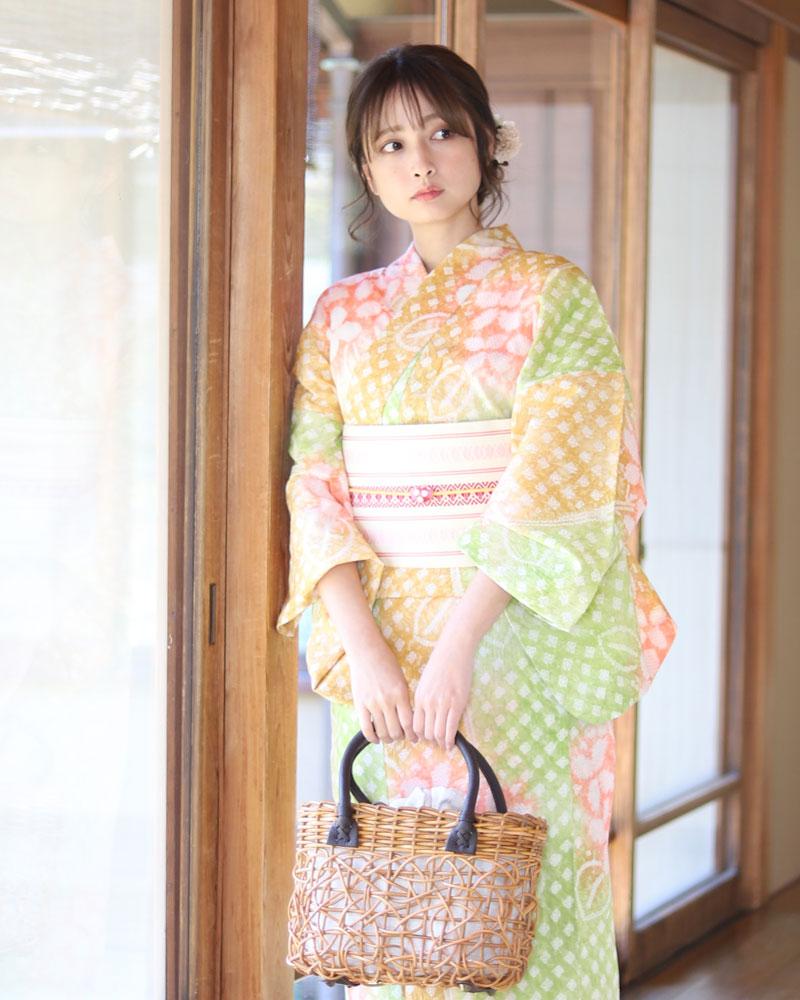 有松絞り浴衣 女性浴衣 帯 下駄 セット レトロ 浴衣 オレンジ 黄緑 グリン 赤 レッド ベージュ 花柄