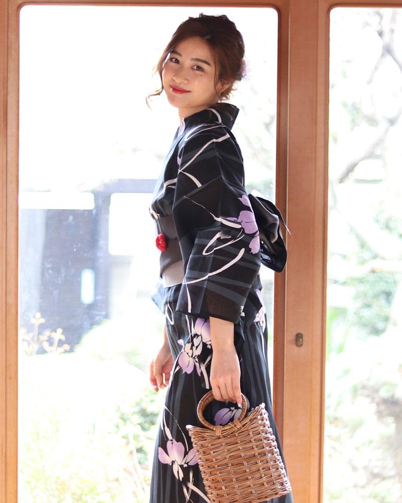 浴衣 レディース 3点セット(浴衣/帯/下駄) 黒 ブラック グレー 紫 パープル 縞 あやめ 花柄