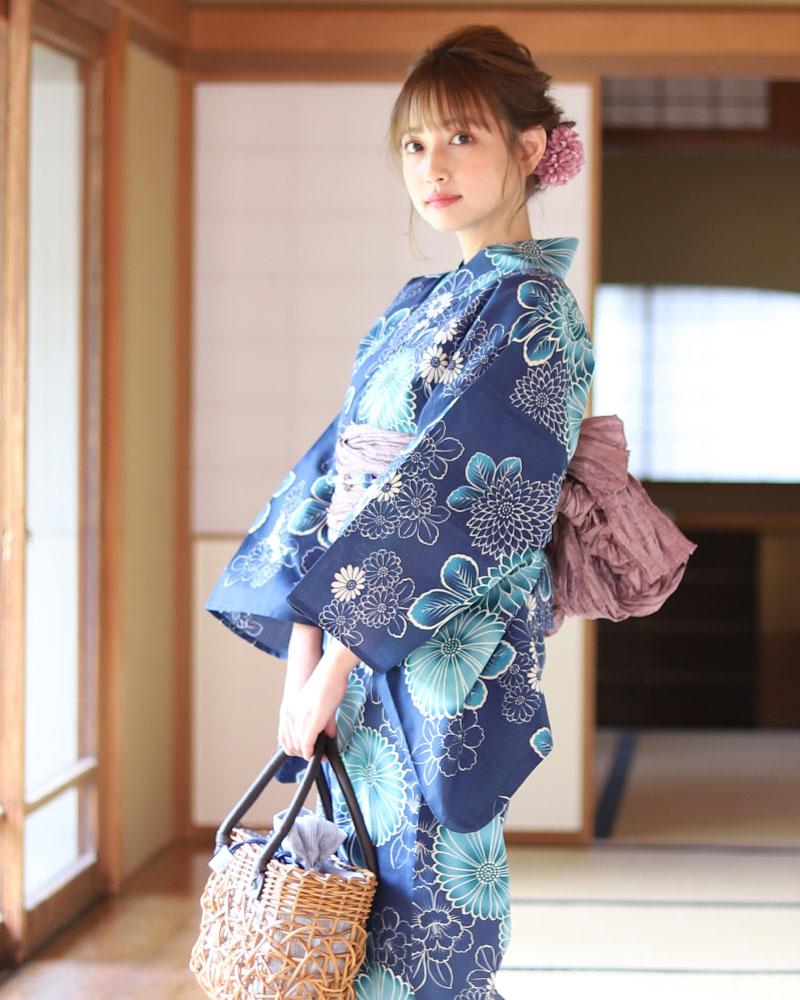 浴衣 レディース 3点セット(浴衣/帯/下駄) 紺 ネイビー 青 ブルー ラベンダー 菊 牡丹 花柄