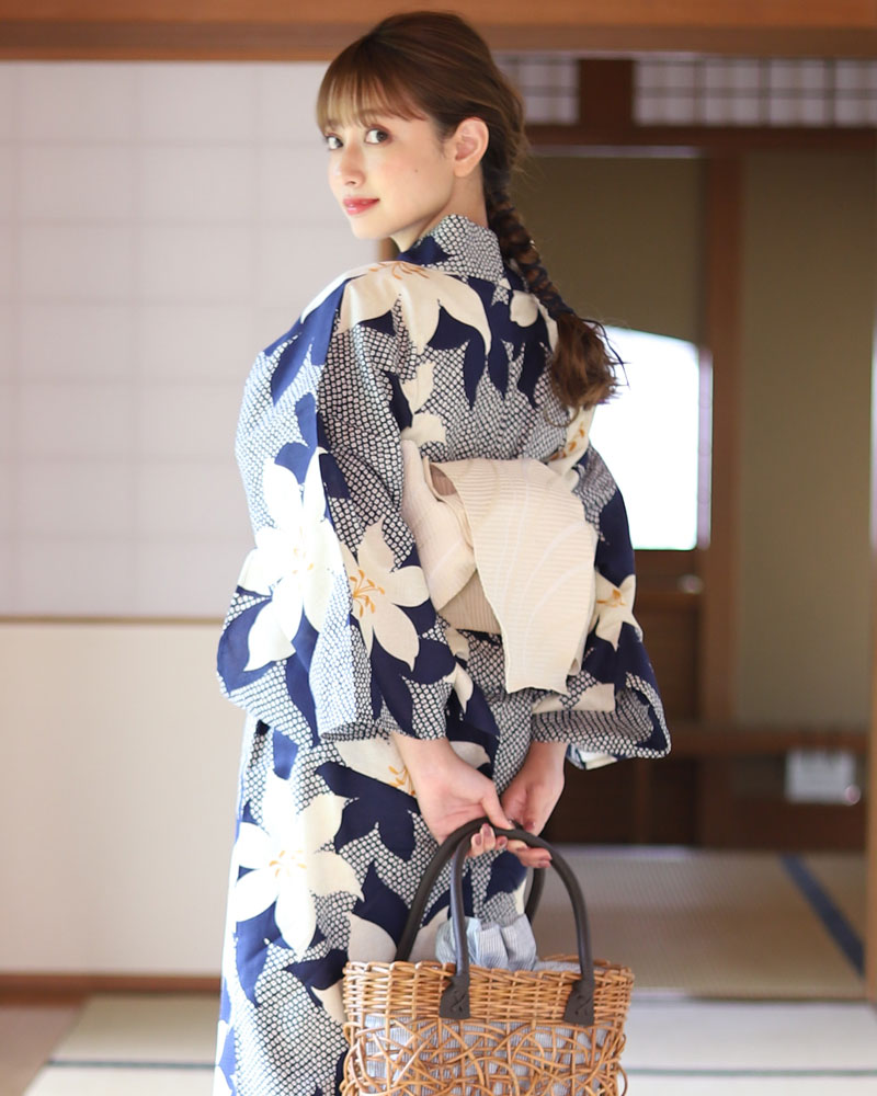 浴衣 レディース 3点セット(浴衣/帯/下駄) 紺 ネイビー ベージュ ゆり 花柄