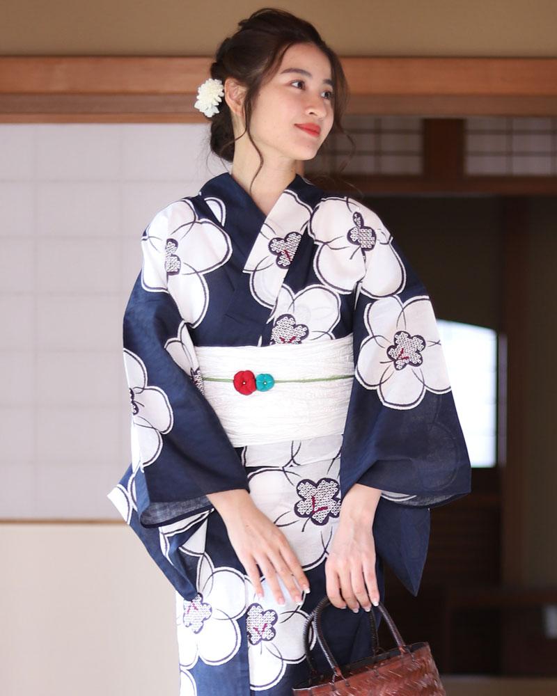 浴衣 レディース 3点セット(浴衣/帯/下駄) 紺 ネイビー 白 ホワイト 梅 花柄