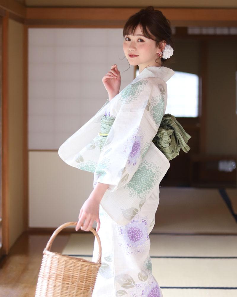 浴衣 レディース 3点セット(浴衣/帯/下駄) 白 ホワイト 薄緑 グリン ラベンダー あじさい 花柄