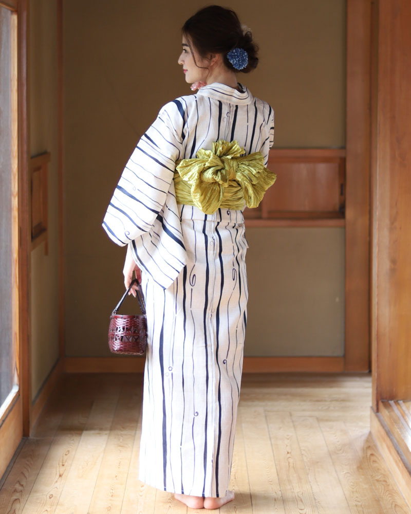 黄色 黒 レディース モノトーン ストライプ 白 ブラック イエロー 浴衣 (浴衣/帯/下駄) 3点セット 縞 ホワイト