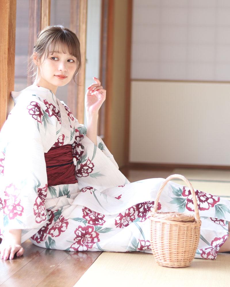 浴衣 レディース 3点セット(浴衣/帯/下駄) 白 ホワイト 赤 レッド エンジ 緑 グリン 牡丹 花柄