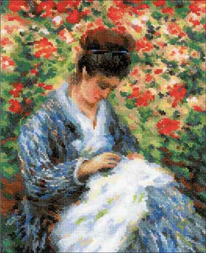 クロスステッチ 刺繍キット RIOLIS カミーユ・モネ Camille Monet after C.Monet's Painting 25番のコットン刺繍糸使用 名画のクロスステッチキット ロシア リオリス