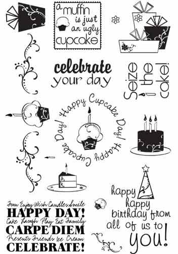 Stamp import stamp art stamp of 18 kinds of clear stamp set cupcake  birthdays
