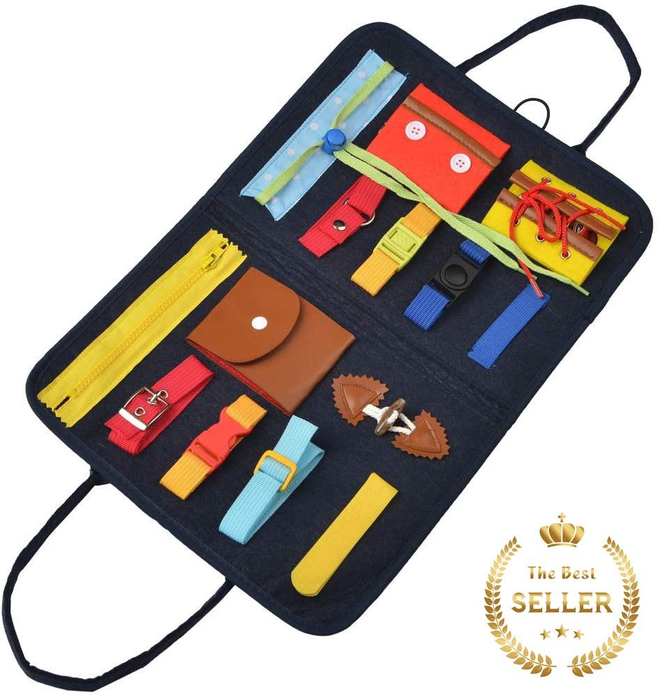 知育玩具 1歳 2歳 3歳 おもちゃ ビジーボード 知育バッグ 信託 子ども 学習 幼児 25%OFF モンテッソーリ 五感 パズル 教育