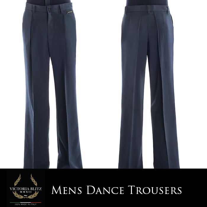 ダンス用メンズパンツ ビクトリアブリッツ ダンスパンツ 社交ダンス パンツ 衣装 競技用 練習着 リーダー ラテン モダン スタンダード スラックス パンツ メンズ 男性 XS-L 黒 青 全2色 イタリア 海外
